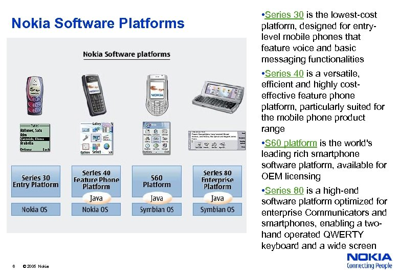 Nokia Software Platforms • Series 30 is the lowest-cost platform, designed for entrylevel mobile