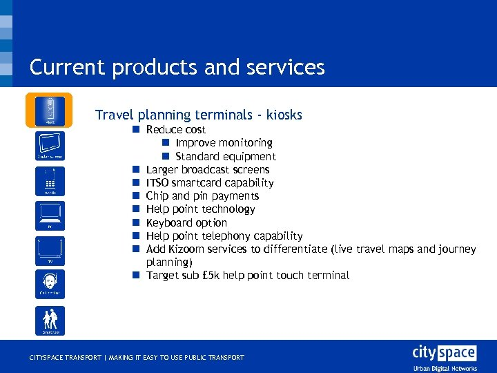 Current products and services o Travel planning terminals - kiosks n Reduce cost n