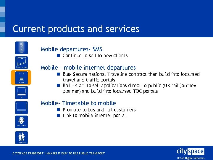 Current products and services o Mobile departures- SMS n Continue to sell to new