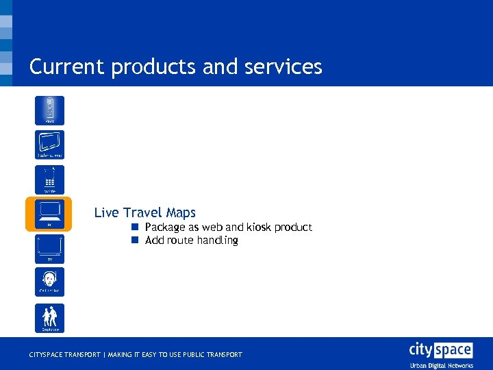 Current products and services o Live Travel Maps n Package as web and kiosk