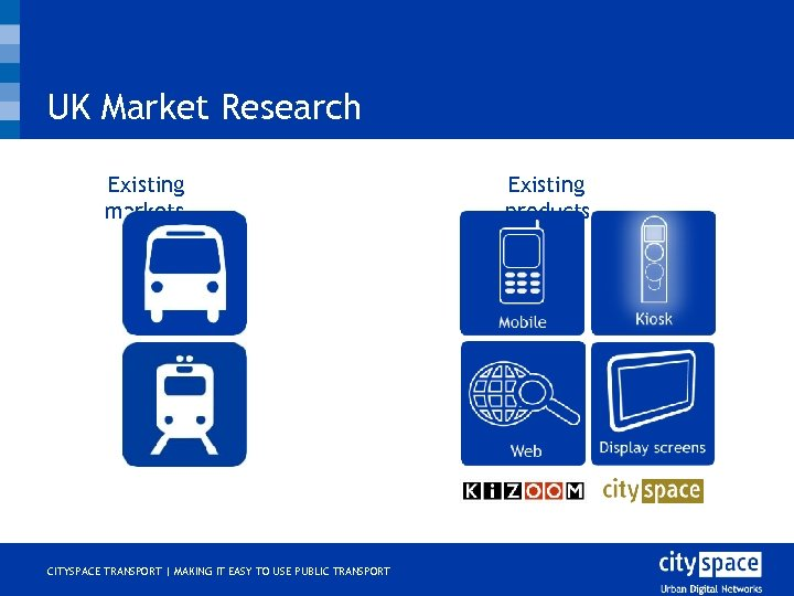 UK Market Research Existing markets o CITYSPACE TRANSPORT | MAKING IT EASY TO USE