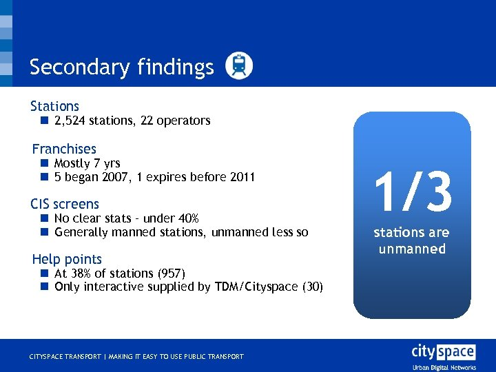 Secondary findings Stations n 2, 524 stations, 22 operators o Franchises n Mostly 7