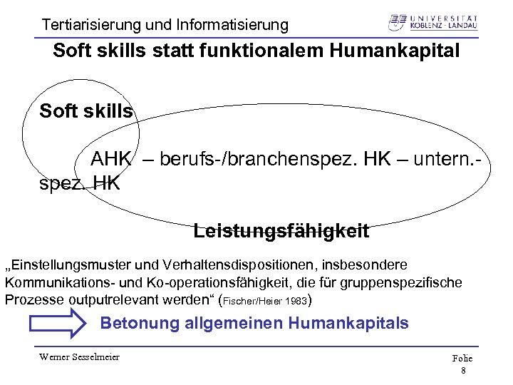 Tertiarisierung und Informatisierung Soft skills statt funktionalem Humankapital Soft skills AHK – berufs-/branchenspez. HK