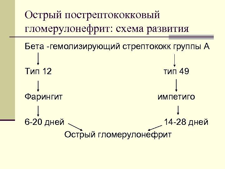 Острый пострептококковый гломерулонефрит: схема развития Бета -гемолизирующий стрептококк группы А Тип 12 Фарингит тип