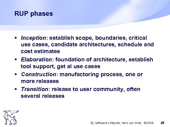RUP phases § Inception: establish scope, boundaries, critical use cases, candidate architectures, schedule and