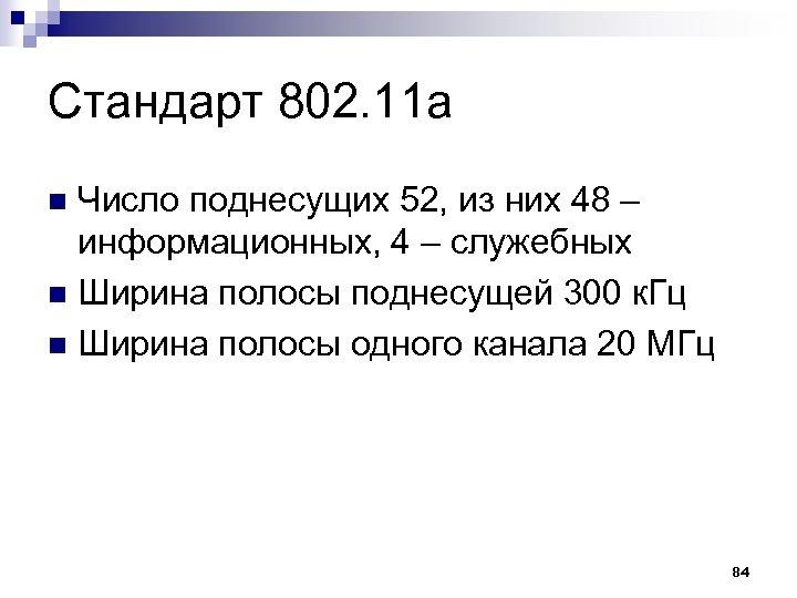 Стандарт 802. 11 а Число поднесущих 52, из них 48 – информационных, 4 –