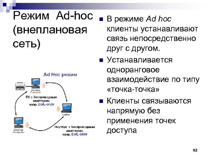 Режим Ad-hoc (внеплановая сеть) n n n В режиме Ad hoc клиенты устанавливают связь