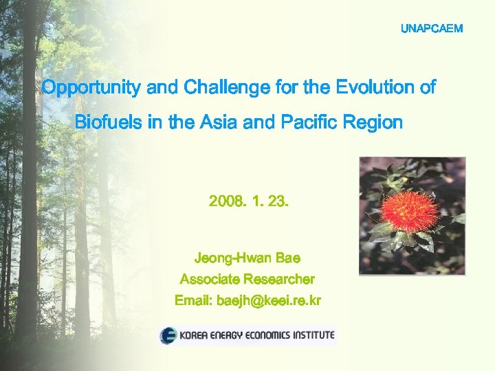 UNAPCAEM Opportunity and Challenge for the Evolution of Biofuels in the Asia and Pacific