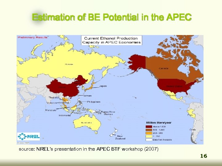 Estimation of BE Potential in the APEC source: NREL's presentation in the APEC BTF