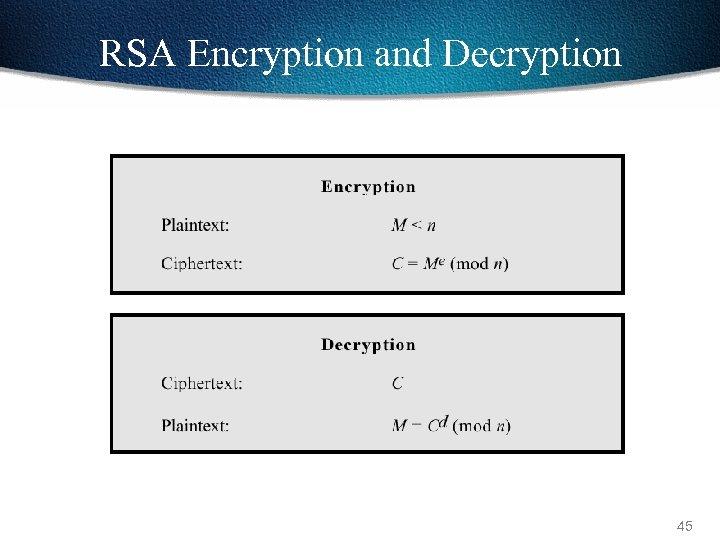 RSA Encryption and Decryption 45