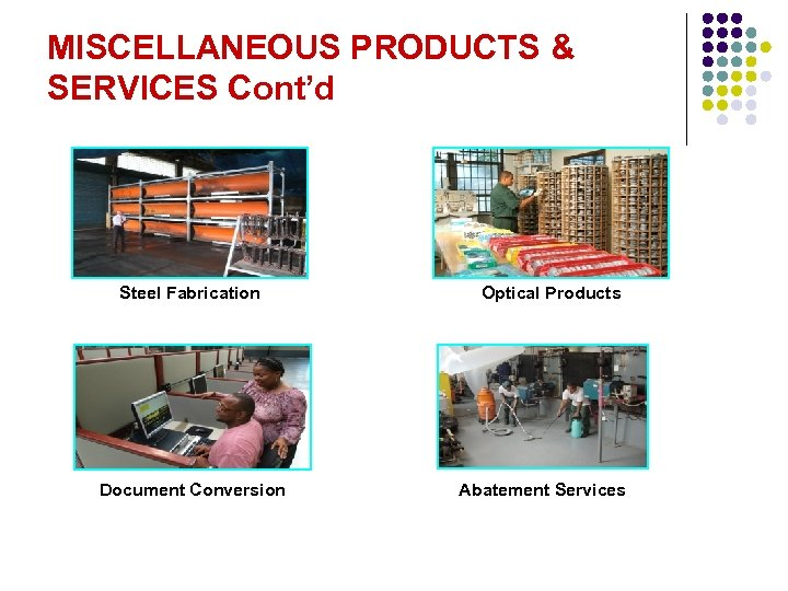 MISCELLANEOUS PRODUCTS & SERVICES Cont'd Steel Fabrication Document Conversion Optical Products Abatement Services