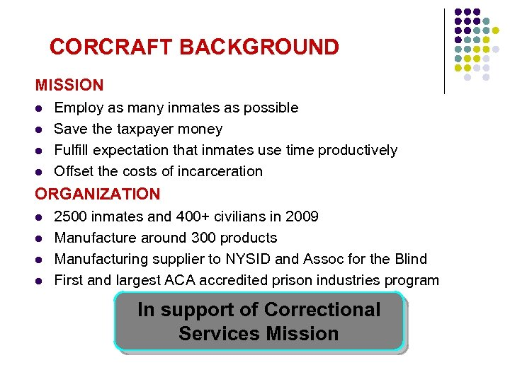CORCRAFT BACKGROUND MISSION l l Employ as many inmates as possible Save the taxpayer