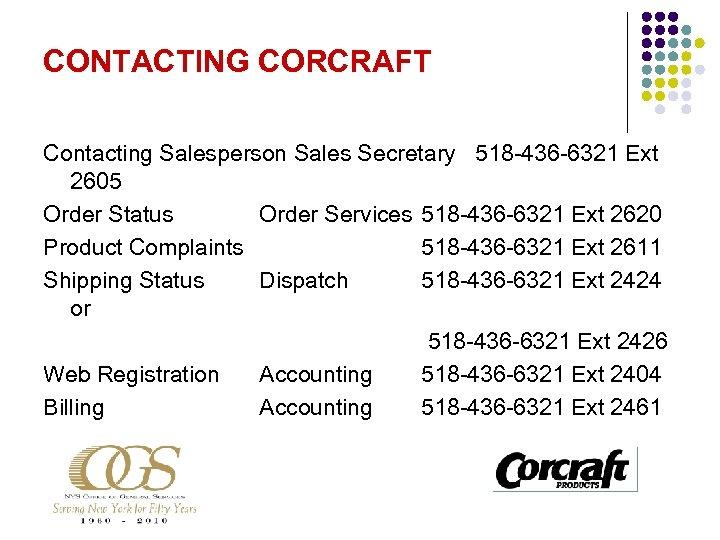 CONTACTING CORCRAFT Contacting Salesperson Sales Secretary 518 -436 -6321 Ext 2605 Order Status Order