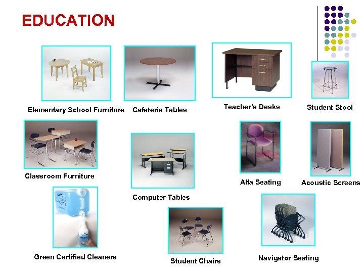 EDUCATION Elementary School Furniture Cafeteria Tables Classroom Furniture Teacher's Desks Alta Seating Student Stool