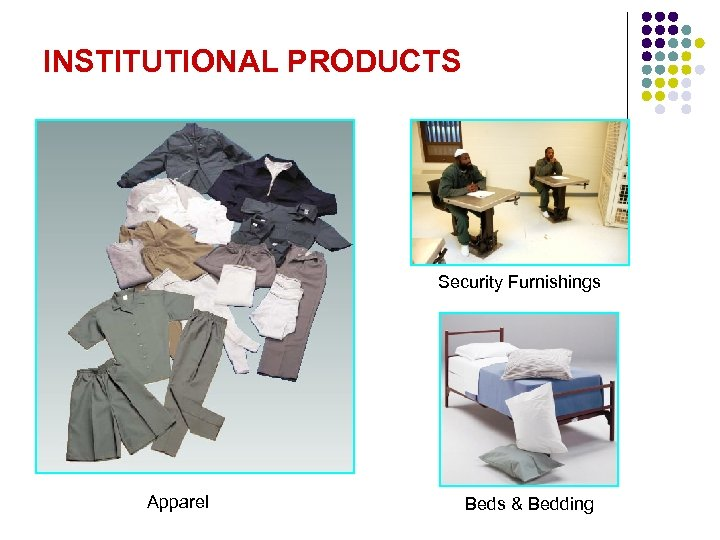 INSTITUTIONAL PRODUCTS Security Furnishings Apparel Beds & Bedding