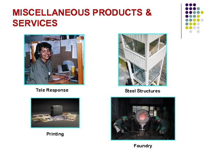 MISCELLANEOUS PRODUCTS & SERVICES Tele Response Steel Structures Printing Foundry