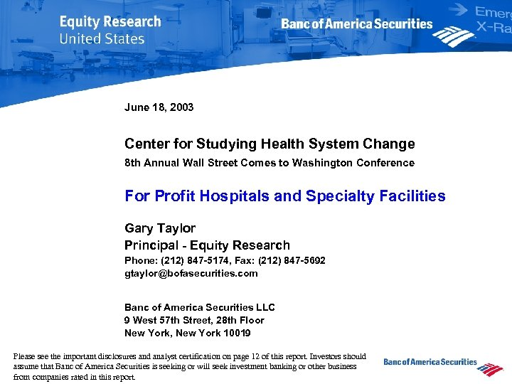 June 18, 2003 Center for Studying Health System Change 8 th Annual Wall Street