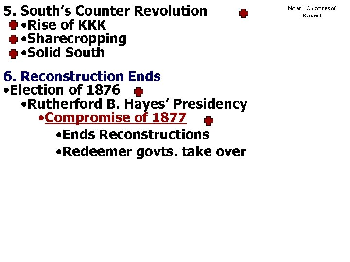 5. South's Counter Revolution • Rise of KKK • Sharecropping • Solid South 6.