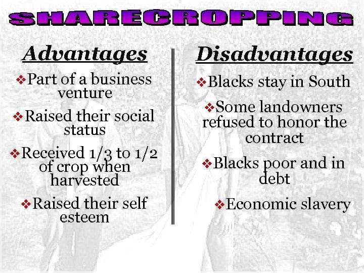 Advantages Disadvantages v. Part of a business v. Blacks stay in South venture v.