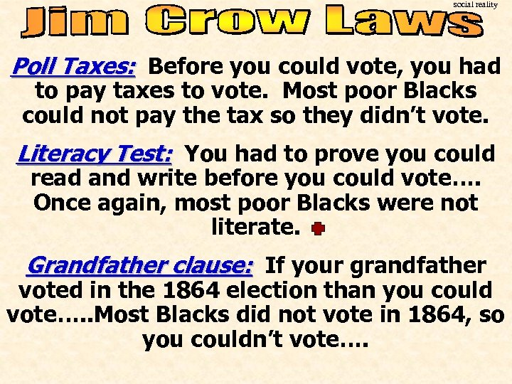 social reality Poll Taxes: Before you could vote, you had to pay taxes to