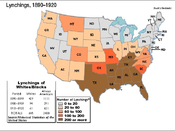 South's Backlash 1 Lynchings of Whites/Blacks 0 to 20 20 to 60 60 to