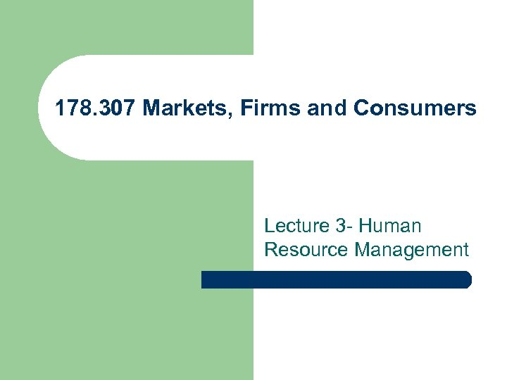 178. 307 Markets, Firms and Consumers Lecture 3 - Human Resource Management