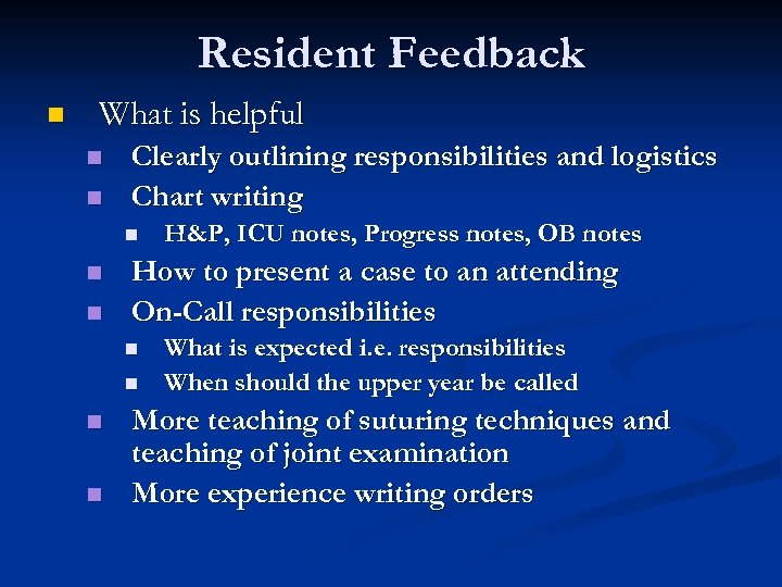 Resident Feedback n What is helpful n n Clearly outlining responsibilities and logistics Chart