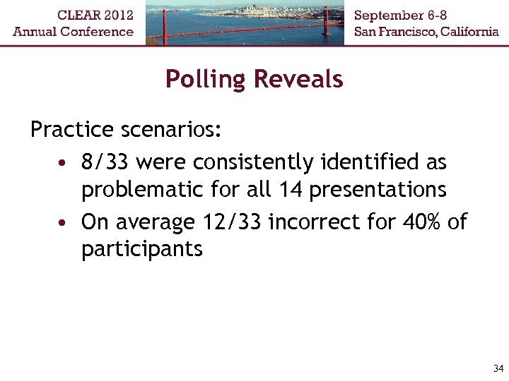 Polling Reveals Practice scenarios: • 8/33 were consistently identified as problematic for all 14