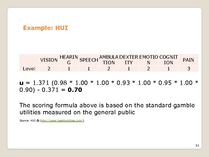 Example: HUI VISION Level 2 HEARIN AMBULA DEXTER EMOTIO COGNIT SPEECH G TION ITY