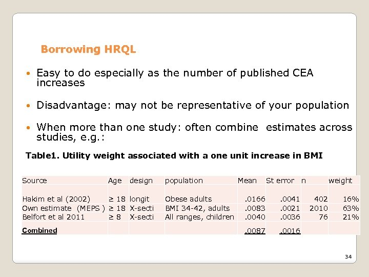Borrowing HRQL Easy to do especially as the number of published CEA increases Disadvantage: