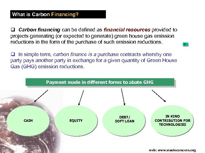 What is Carbon Financing? q Carbon financing can be defined as financial resources provided