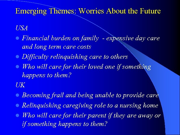 Emerging Themes: Worries About the Future USA l Financial burden on family - expensive