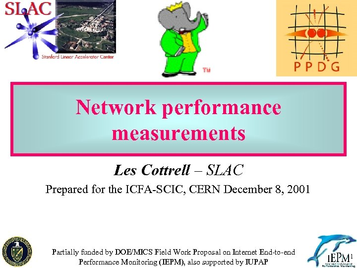 Network performance measurements Les Cottrell – SLAC Prepared for the ICFA-SCIC, CERN December 8,