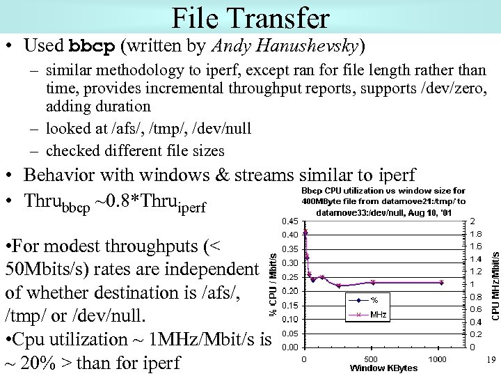 File Transfer • Used bbcp (written by Andy Hanushevsky) – similar methodology to iperf,