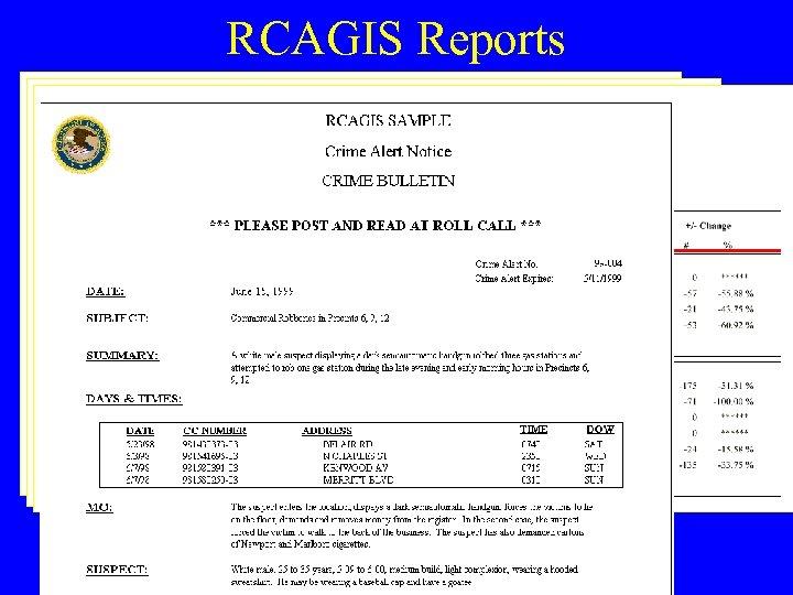 RCAGIS Reports