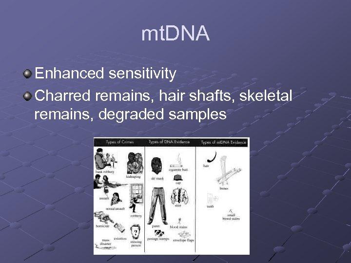 mt. DNA Enhanced sensitivity Charred remains, hair shafts, skeletal remains, degraded samples