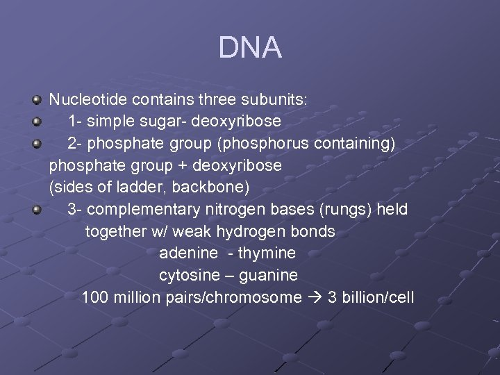 DNA Nucleotide contains three subunits: 1 - simple sugar- deoxyribose 2 - phosphate group
