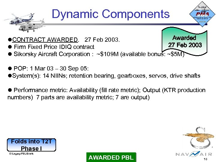 Dynamic Components Awarded CONTRACT AWARDED. 27 Feb 2003 Firm Fixed Price IDIQ contract Sikorsky