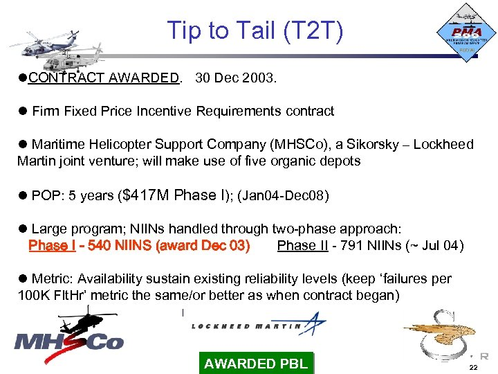 Tip to Tail (T 2 T) CONTRACT AWARDED. 30 Dec 2003. Firm Fixed Price