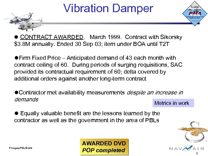 Vibration Damper CONTRACT AWARDED. March 1999. Contract with Sikorsky $3. 8 M annually. Ended