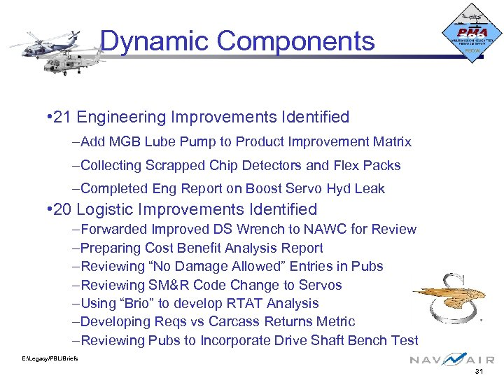 Dynamic Components • 21 Engineering Improvements Identified –Add MGB Lube Pump to Product Improvement