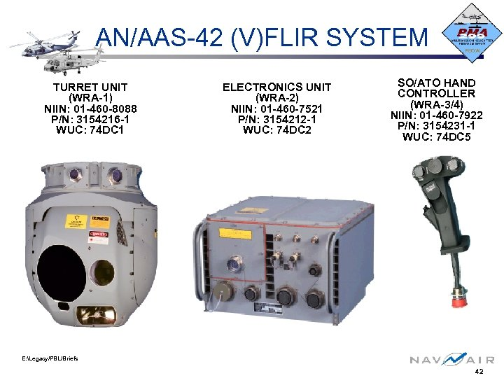 AN/AAS-42 (V)FLIR SYSTEM TURRET UNIT (WRA-1) NIIN: 01 -460 -8088 P/N: 3154216 -1 WUC: