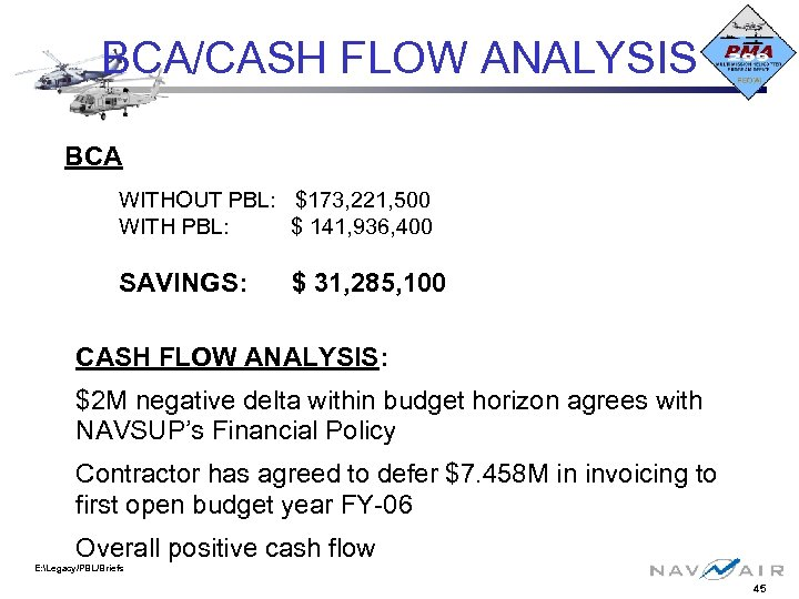 BCA/CASH FLOW ANALYSIS BCA WITHOUT PBL: $173, 221, 500 WITH PBL: $ 141, 936,