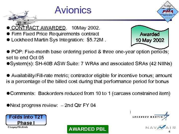Avionics CONTRACT AWARDED. 10 May 2002. Firm Fixed Price Requirements contract Lockheed Martin Sys