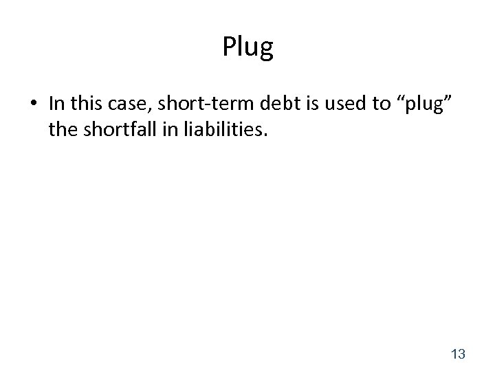 "Plug • In this case, short-term debt is used to ""plug"" the shortfall in"