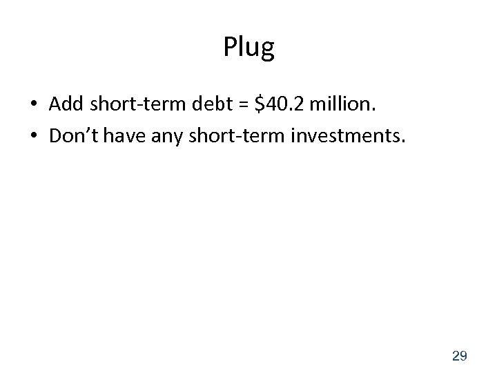 Plug • Add short-term debt = $40. 2 million. • Don't have any short-term