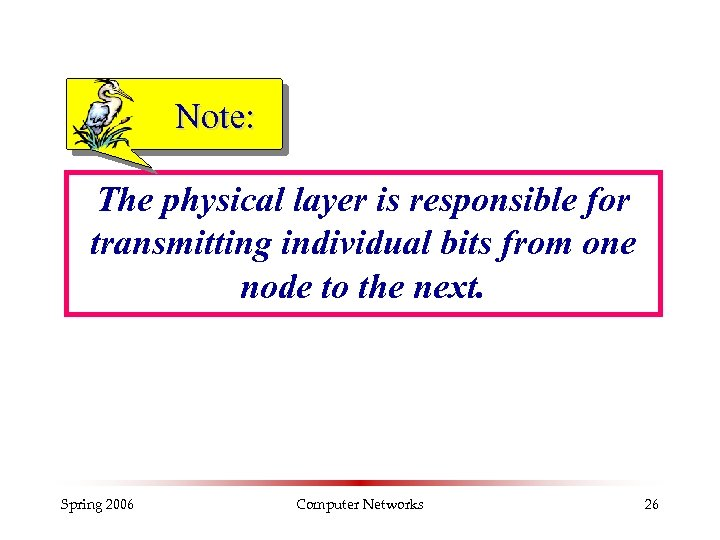 Note: The physical layer is responsible for transmitting individual bits from one node to