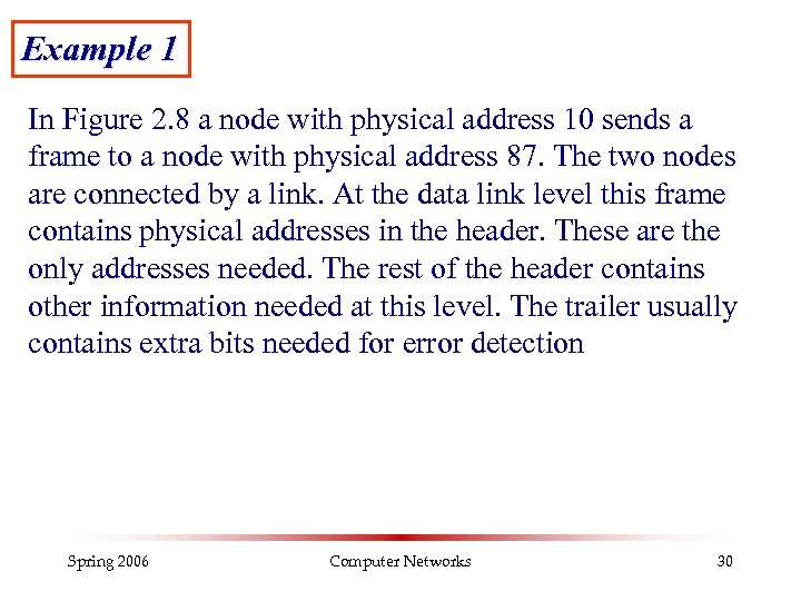 Example 1 In Figure 2. 8 a node with physical address 10 sends a