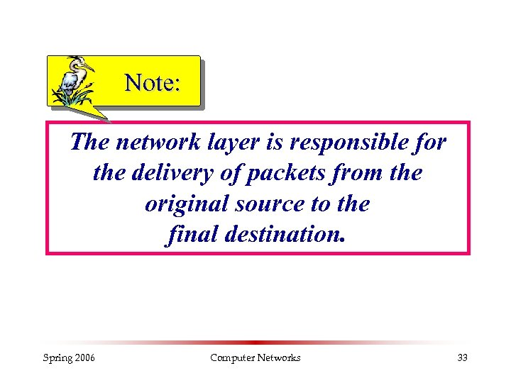 Note: The network layer is responsible for the delivery of packets from the original