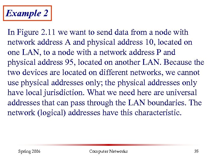 Example 2 In Figure 2. 11 we want to send data from a node